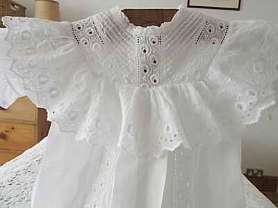 Lovely Antique French Cotton Lawn Baby Dress - Frilly Yoke & Embroidered Ribbon