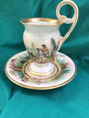 OUTSTANDING KPM Berlin Antique 19th Century Cup and Saucer Royal Soldiers