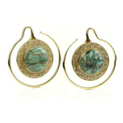 PAIR BRASS MANDALA EAR WEIGHTS WITH CHRYSOCOLLA - 4mm - 6G