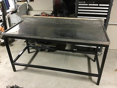 WORK BENCH , STAINLESS STEEL TOP With Splash Back Steel Tube Frame Tools table