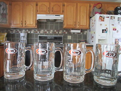 """4  A & W Root Beer Mugs 5 3/4"""" -  14oz               EXCELLENT"""