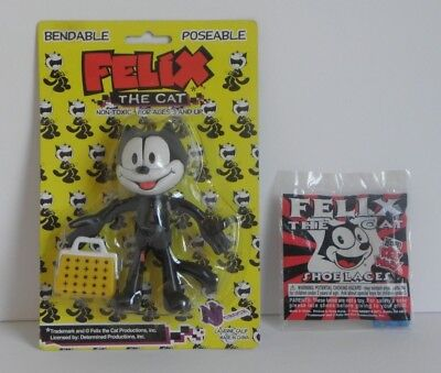 Felix The Cat Bendy / Bendable / Poseable Figure ~ Bonus! Shoe Laces