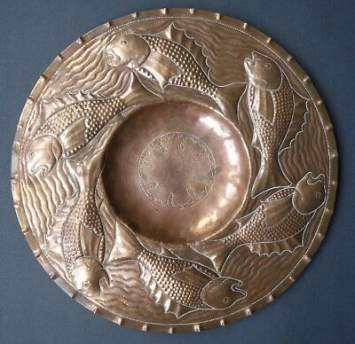 Arts and Crafts  Newlyn Copper alms tray
