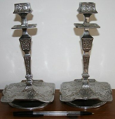 ARTS CRAFTS Silver plate CANDLESTICKS stamped (Jd)