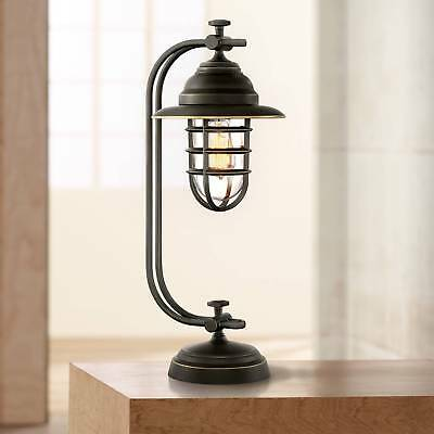 Industrial Style Desk Lamp Oil Rubbed Bronze Cage LED Filament for Office Table