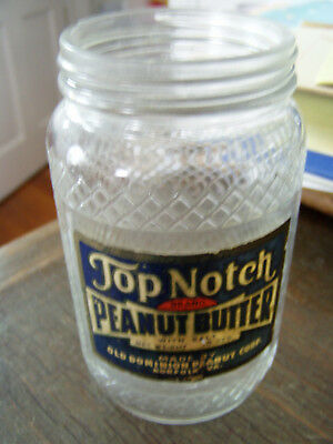 Top Notch Peanut butter jar by Old Dominion paper label rare Norfolk Va