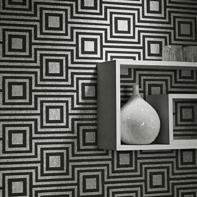 NEW Arthouse Modena Charcoal Grey Black Sqaure Geoemtric Luxury Wallpaper 901801