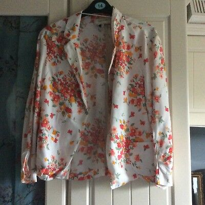 Cream/floral pattern summer jacket by River Island size 14