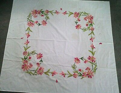 """Vtg Hand Painted Table Cloth-Floral- 50"""""""