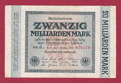 20 Milliarden Mark , Reichsbanknote - 1923 - Ros. 115b / FZ NN !!!