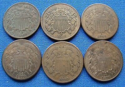 *nice Lot Of (6) Better Date Two Cent Pieces 1868, 1869 & 1870 - Estate Fresh*