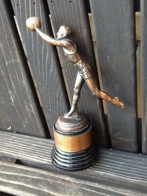 AWESOME Bronze 1936 Vintage LACED Basketball Old Player Circa Antique Trophy LRG