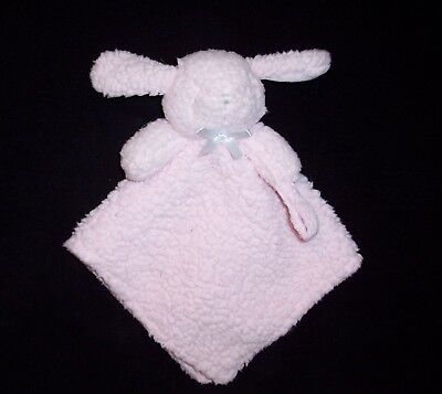 Blankets and & Beyond Pink Bunny Baby Blanket Sherpa Paci Holder Satin Bow Lovey