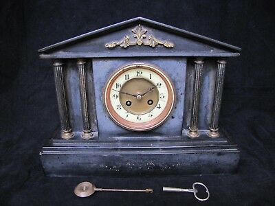Antique French Bronze 4 column Marble Mantel Clock