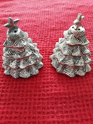 Vintage Silver Plate Christmas Tree Salt And Pepper Shakers By Elegance
