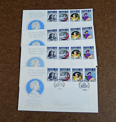 Lot 4: Hong Kong First Day Cover/ 3 Souvenir Covers:Queen Eliz. Queen Mother