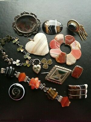 Job Lot Of Antique Victorian Agate Jewellery For Spare Repair