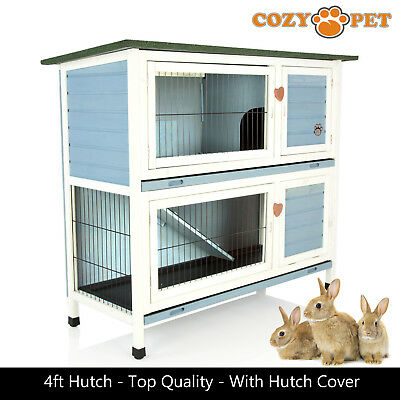 Rabbit Hutch by Cozy Pet 4 ft Blue with Cover 2 Levels Guinea Pig Run Ferret