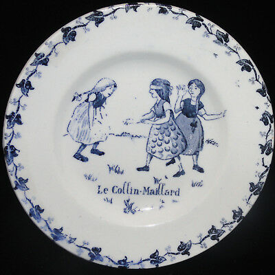 French Childs Plate  ~ Blind Mans Bluff ~ Childhood Games c1900 Gien Amusements