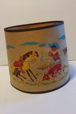 Vintage Child's Cowboy Cattle Roper Bronco Lamp Shade Table Lamp Shade Western