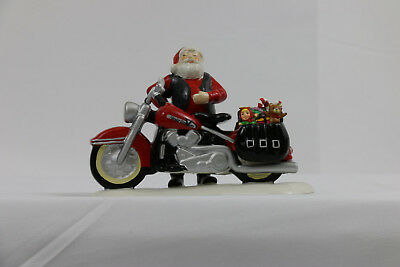 DEPT 56 SNOW VILLAGE Accessory SANTA'S NEW SLEIGH IS A HARLEY NIB (B)