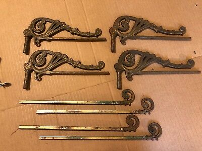 4 X Swing Arm Expandable Metal Curtain Rods Brackets Victorian Window Treatment