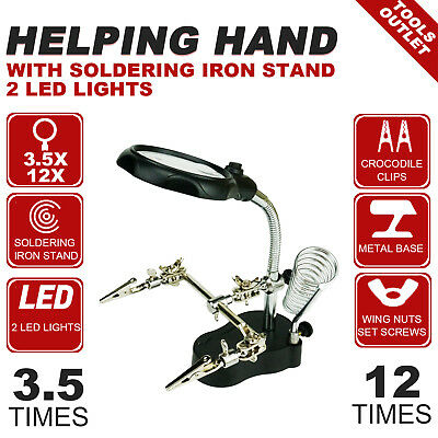 Helping hand Soldering Iron Stand  Crocodile Clip Magnifying Glass  2 LED lights