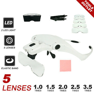 2 Led Headband Magnifier Magnifying Glasses with 5 lens Jeweler Watch Repair