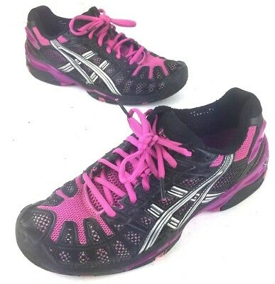 Asics Gel Resolution Black Pink Tennis Court Running Shoes Womens Size 8.5
