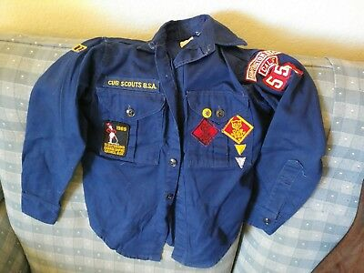 Vintage 1960's Cub Boy Scout Uniform Wolf Bear Camporama Shirt w patches  12 REG