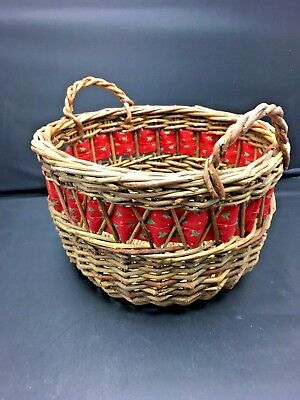 Vintage Rustic Woven Wicker Rattan Christmas Basket w Handles Country Red Ribbon