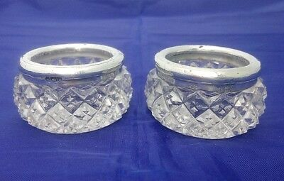 Pair of Open Cut Glass Salts with Silver Rims by Robert Pringle London 1914