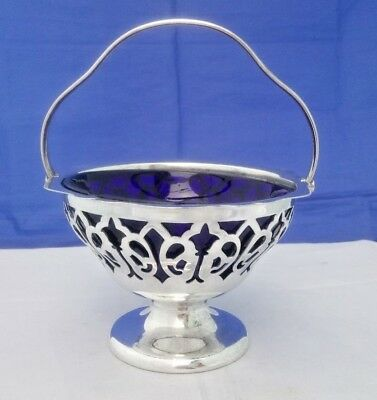 Antique Silver Plate Footed Sugar Bowl Bonbon Dish Blue Liner Mark Willis & Son