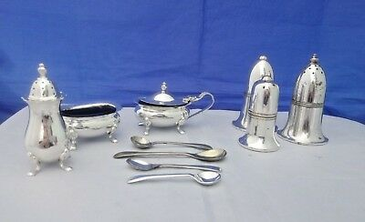 VTG Silver Plate Condiment Sets incl. Salt & Pepper Shakers, Spoons etc Job Lot