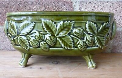 Vintage Holkham Pottery Green Planter with Strawberry Pattern