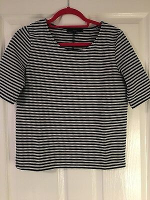 Ladies Navy And White Striped Top - From Next - Uk 8/10