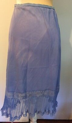 Vintage 1950's GILBREATH Periwinkle Blue Nylon Half Slip  Pleated Lace Size M