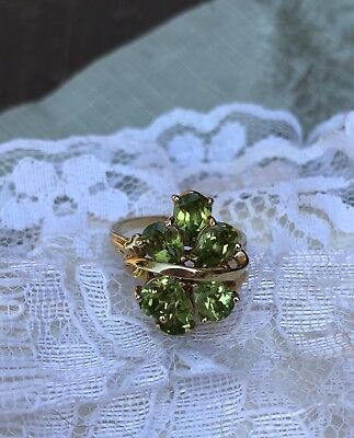Gorgeous 14k Gold Cluster Peridot Ring Scrap Or Wear 5.7 Grams
