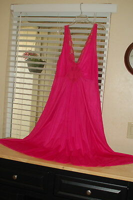 Adonna Vintage Nightgown Sweep Olga Style Pink Raspberry Size Large