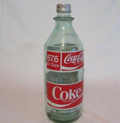 Vintage Green Glass Coke Coca Cola 2 Liter 67.6 Oz. Bottle W / Cap