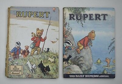 2 X Vintage Rupert the Bear - Daily Express Annual Hardback Book 1950s