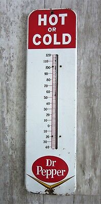 Vintage Original Dr Pepper Hot or Cold Ad Metal Thermometer Gas Station Sign 50s
