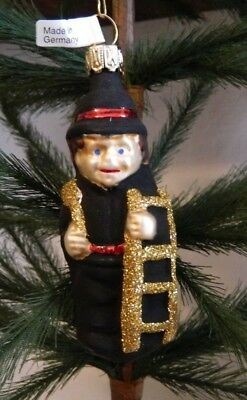 Happy Chimney Sweep w Ladder  Mold Blown Glass Christmas Tree Ornament  Germany