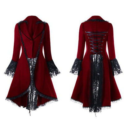 Donna Gotico Steampunk Giacca Finiture in Pizzo Giacca Halloween Cosplay Costume