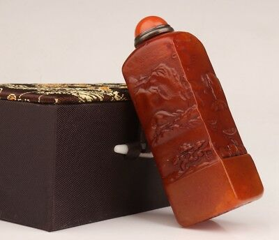 Natural Shoushan Stone Embossed Handmade Chop Snuff Bottle Collection Old Gift