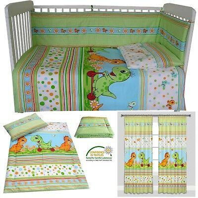 Dinosaurs Nursery bedding Duvet Cover/Pilowcase/Bumper/Curtains Cot Bed Toddler