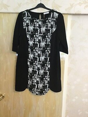 "Ladies ""Ilussion"" Dress. Black With Printed Front Panel. Size 16"