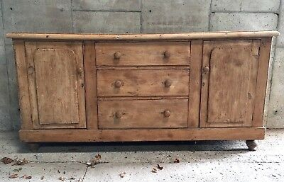 Antique Pine Dresser Base / Victorian Pine Sideboard Chest With Drawers