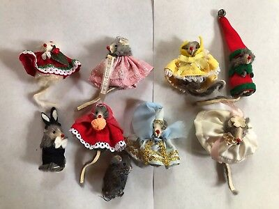 9 Vintage The Little Mouse Factory Original Fur Animals  Made In W. Germany&usa