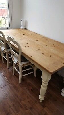 Pine Kitchen Dining Table 6' long Painted Cream legs Shabby Chic Farmhouse style